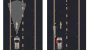 road marking scanned by dual line retroreflectometer RetroTek-M
