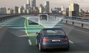 autonomous car driving into city using road lines