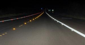 reflective-road-assets-measured-retrotek-m-visible-in-car-headlights