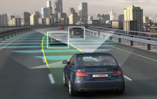 autonomous car driving into city using road lines